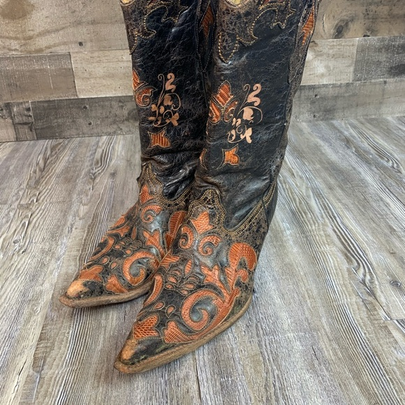 Corral Western Cowboy Boots Brown Black Size 10